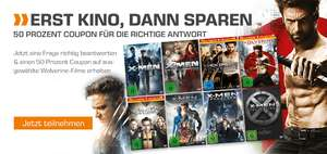 X-Men/Wolverine Aktion 50% Coupon auf X-Men oder Wolverine Filme z.B X-Men 1-6 Collection (Blu-ray) für 18,49€, X-Men Apocalypse – (4K Ultra HD Blu-ray + Blu-ray) für 13,49€ uvm. (Saturn)