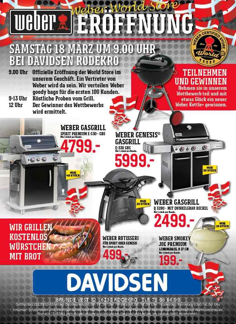 [Grenzgänger DK Davidsen Rødekro] Weber World Store Eröffnung / Genesis E330 GBS 807,00€ / Spirit Premium E330 645,00€ + weitere Angebote - nur am 18.3 ! Stückzahl begrenzt.