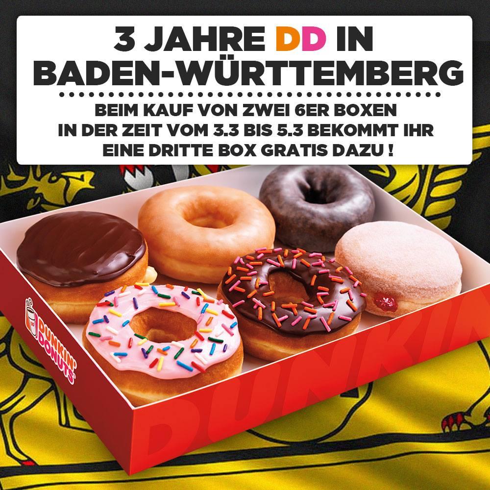 [Dunkin Donuts] (lokal BW) 3 Jahre DD in Baden Württemberg - Drei Tage lang beim Kauf von 2x 6er Boxen gibts eine 3. Box Gratis dazu