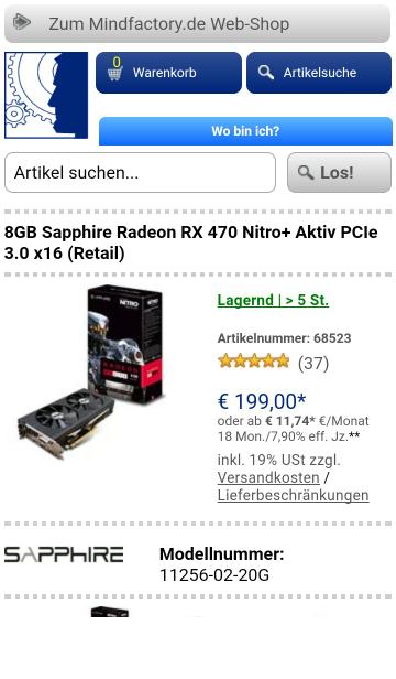 8GB Sapphire Radeon RX 470 Nitro+ 199€