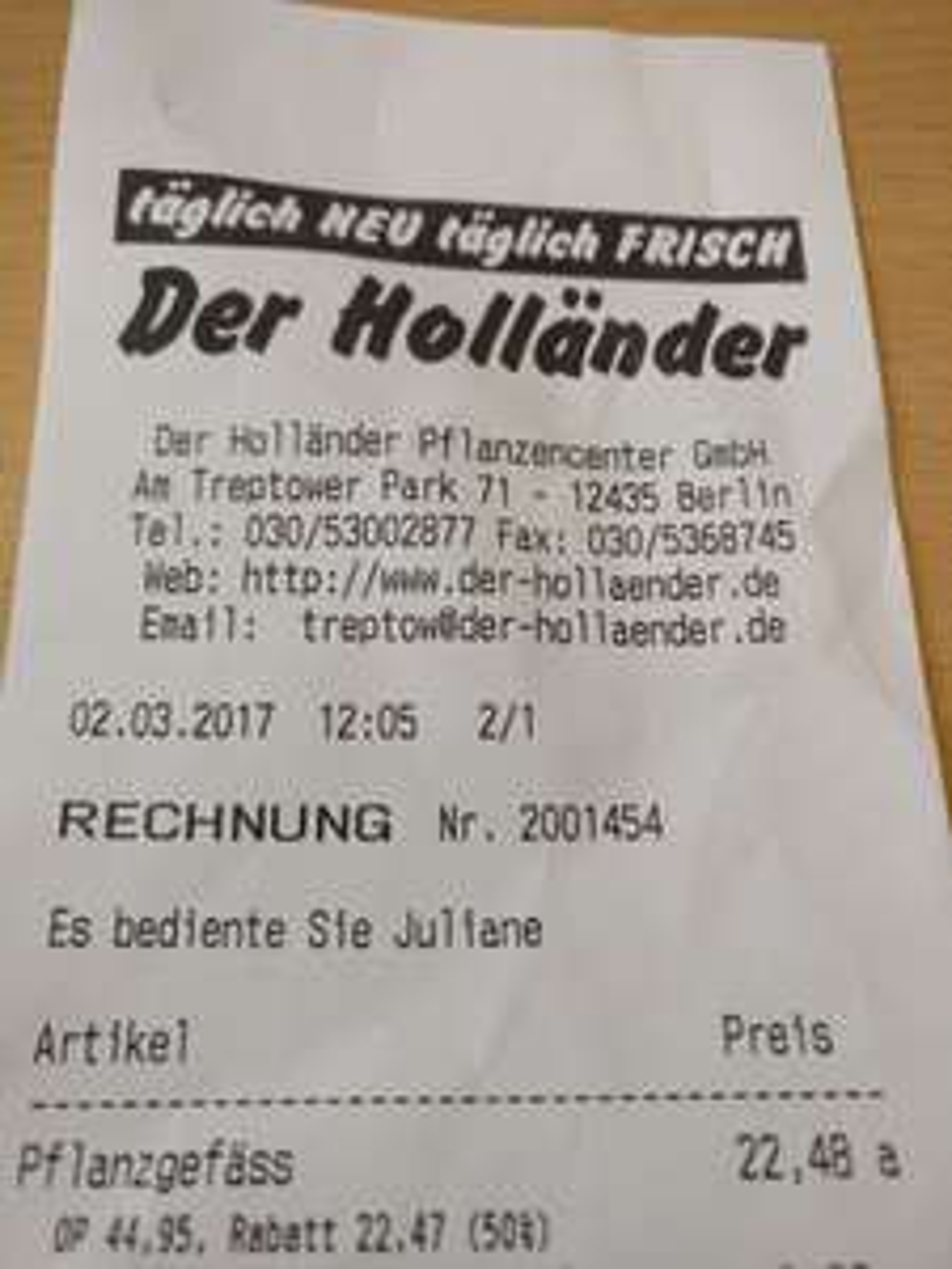 [Berlin lokal] Pflanzgefäße von KIRSCHKE 50% rabattiert bei DER HOLLÄNDER