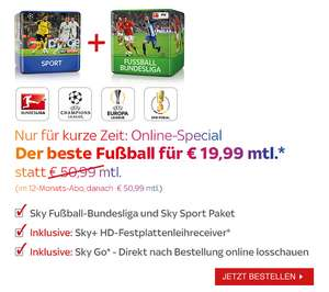 """[Sky] Pakete """"Fußball Bundesliga"""" + """"Sport"""" für 19,99€ mtl. (Nur für Neukunden, 1 Jahr Vertragslaufzeit), Inklusive kostenlosem Sky+ HD-Festplattenreceiver"""