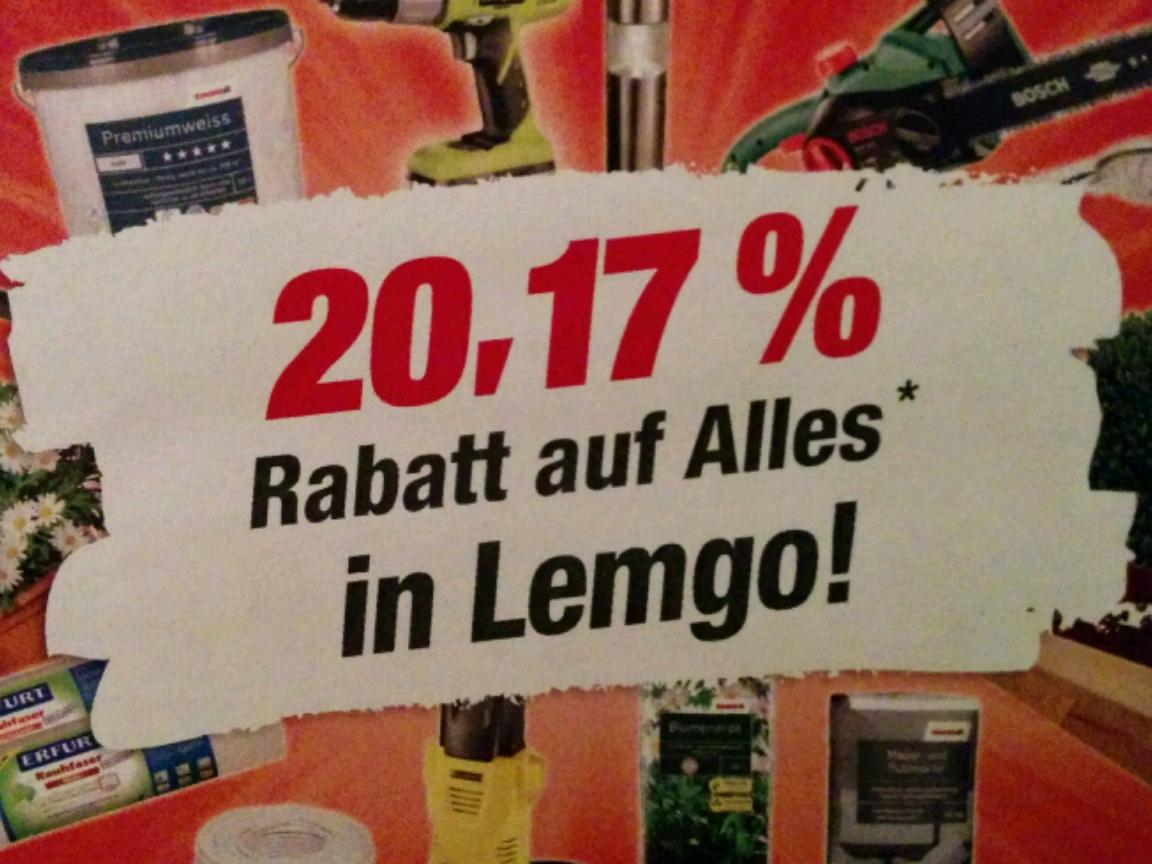 [Lemgo (PLZ 32657) - lokal] Wiedereröffnung Toom Baumarkt Lemgo - 20,17% Rabatt auf alles vom 06.03 - 11.03.