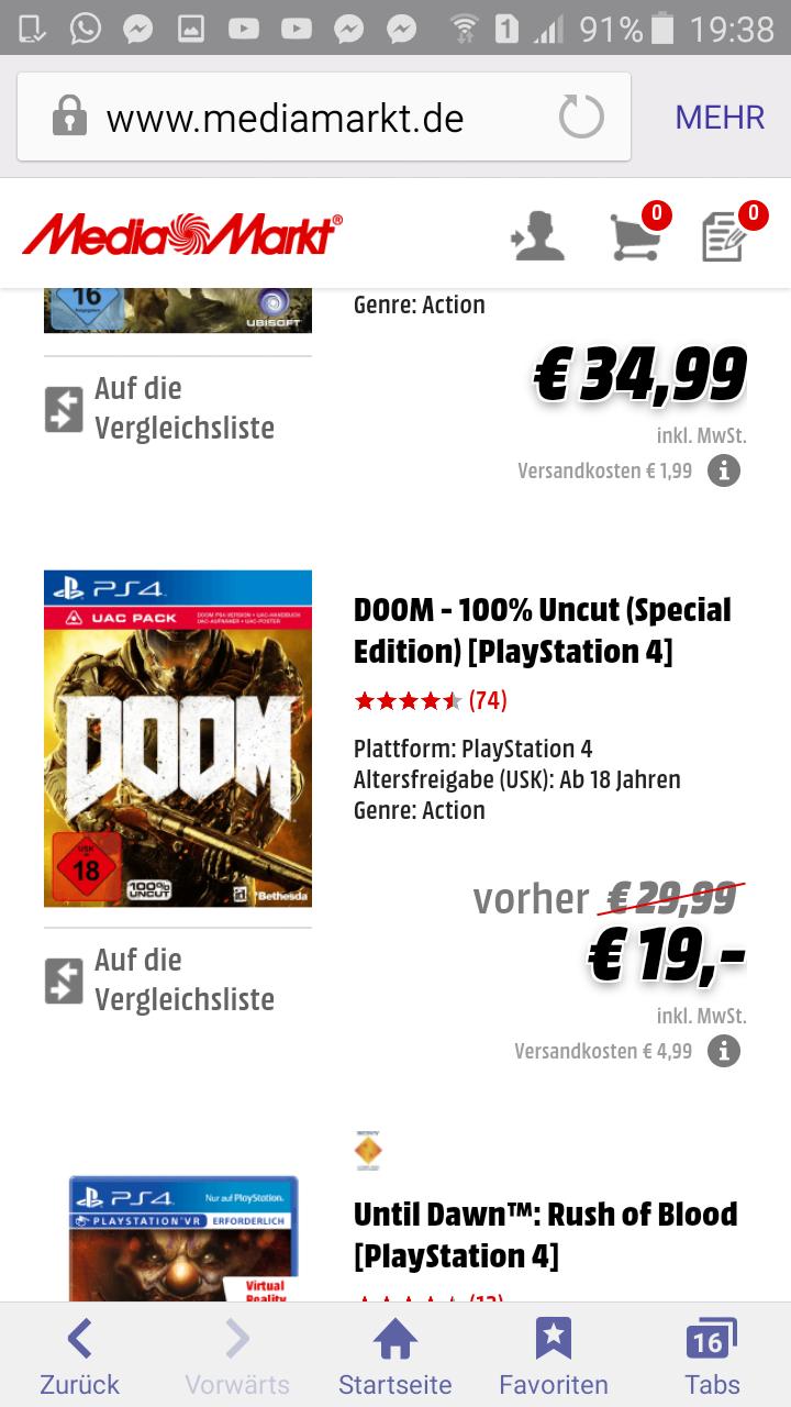 Doom für PS4 Nur 19 Euro  Media Markt Online