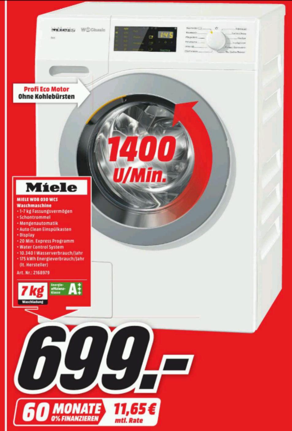[MediaMarkt-Nordhorn] Miele WDB030 WCS Eco 7 kg A+++ Waschmaschine, 1400 U/min, Watercontrol-System