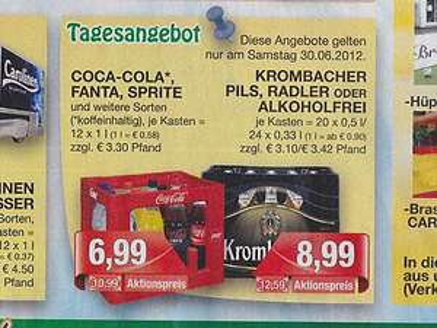 Marktkauf Krombacher für 8,99 pro Kiste