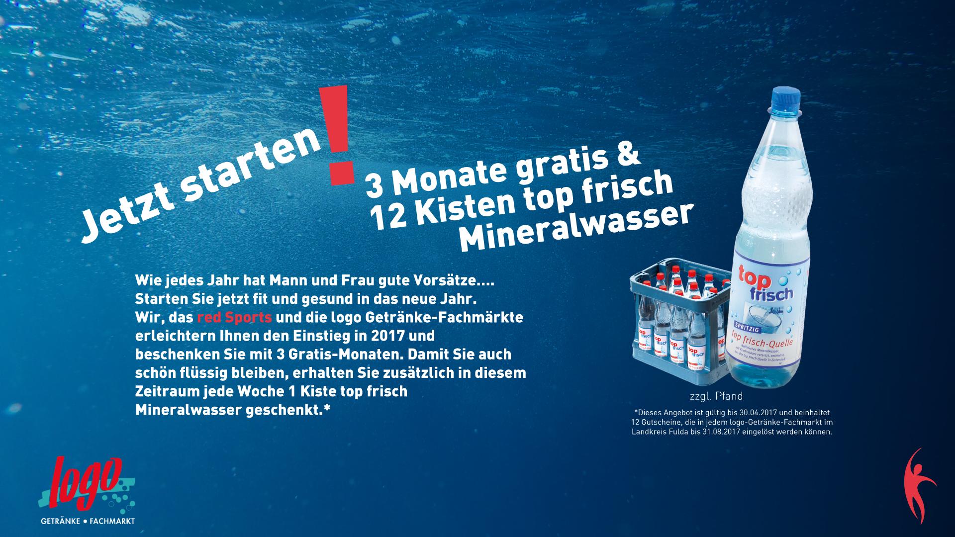 [Lokal Fulda][red Sports][Logogetränkemärkte] 3 Monate gratis trainieren + 12 Kisten Mineralwasser gratis (nur Pfand)