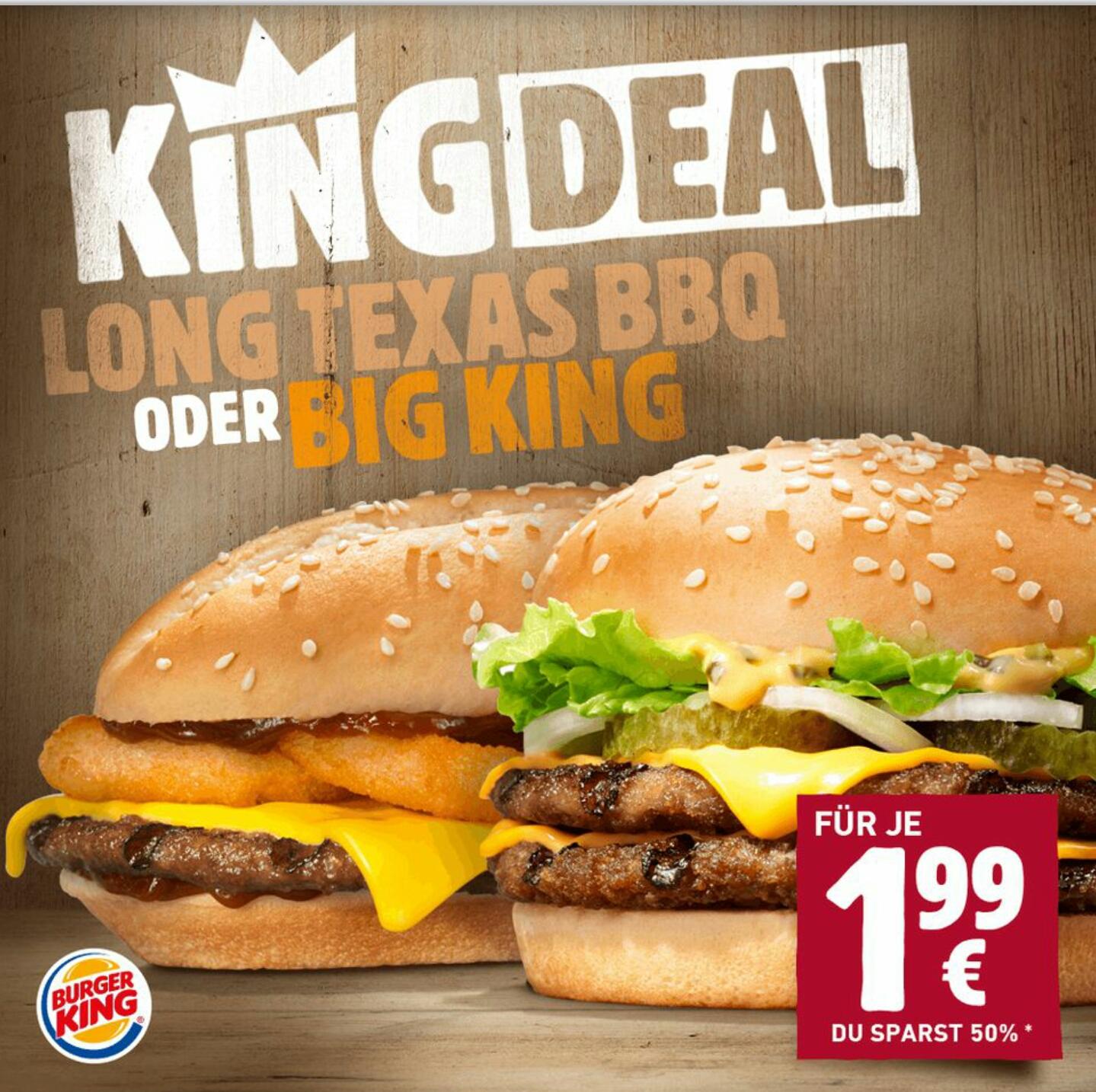 [Burger King ohne App oder PLU] Long Texas BBQ oder Big King im März für jeweils 1,99€