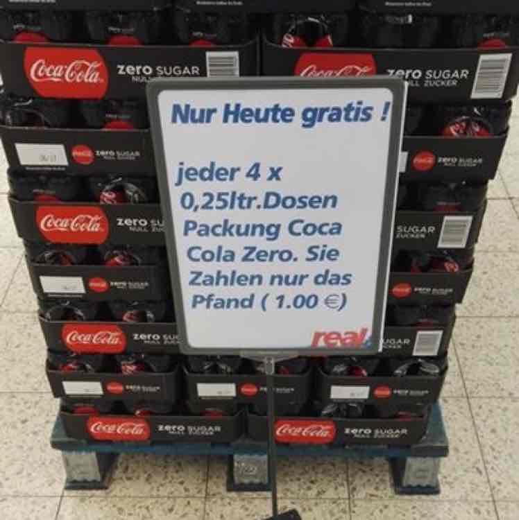Real Markt (Leverkusen) Gratis Cola Zero (nur das Pfand wird bezahlt)