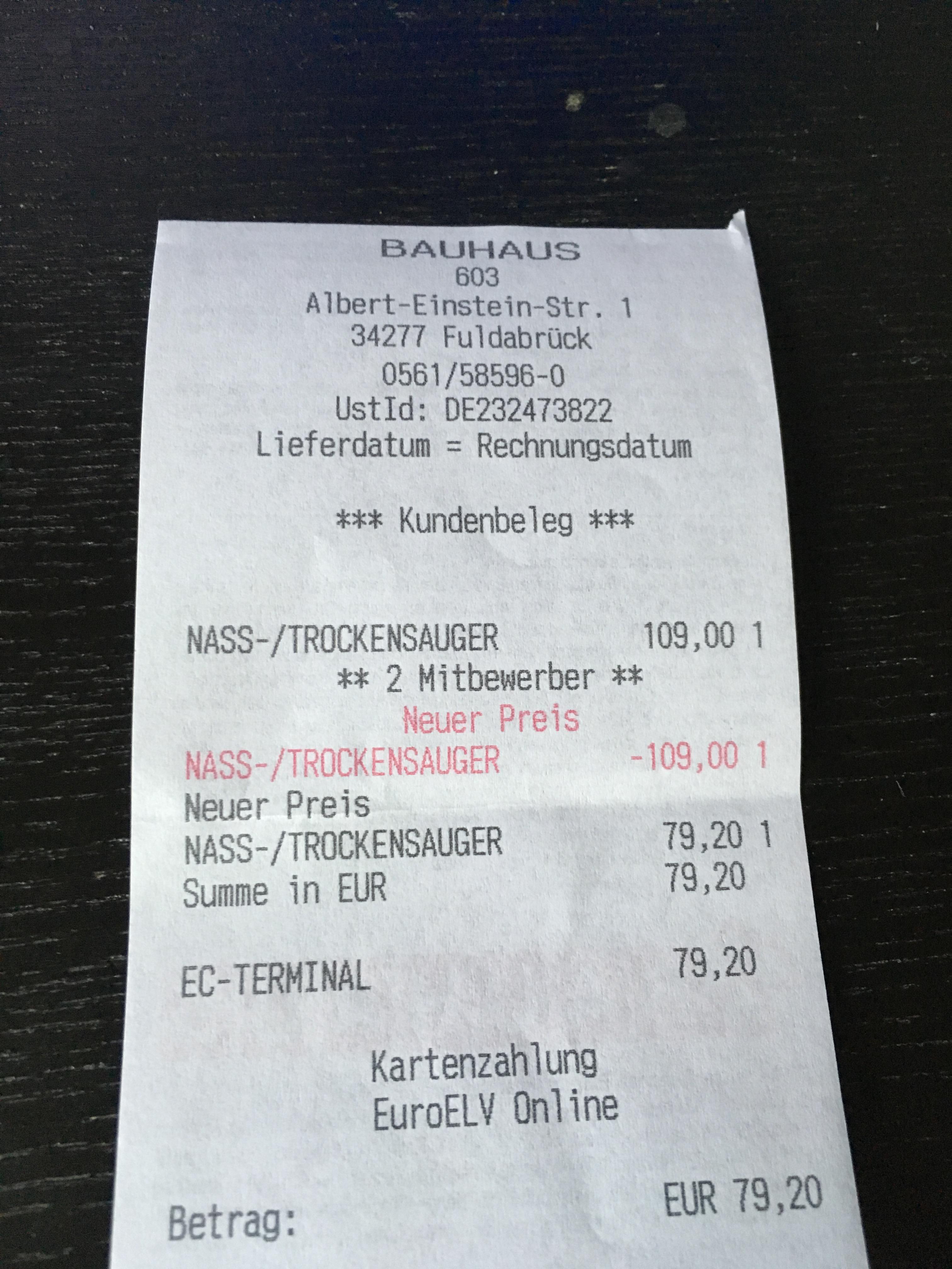[Bauhaus Tiefpreisgarantie] Kärcher Mehrzwecksauger (Nass- und Trockensauger) WD3P Extension Kit für 79,20 Euro