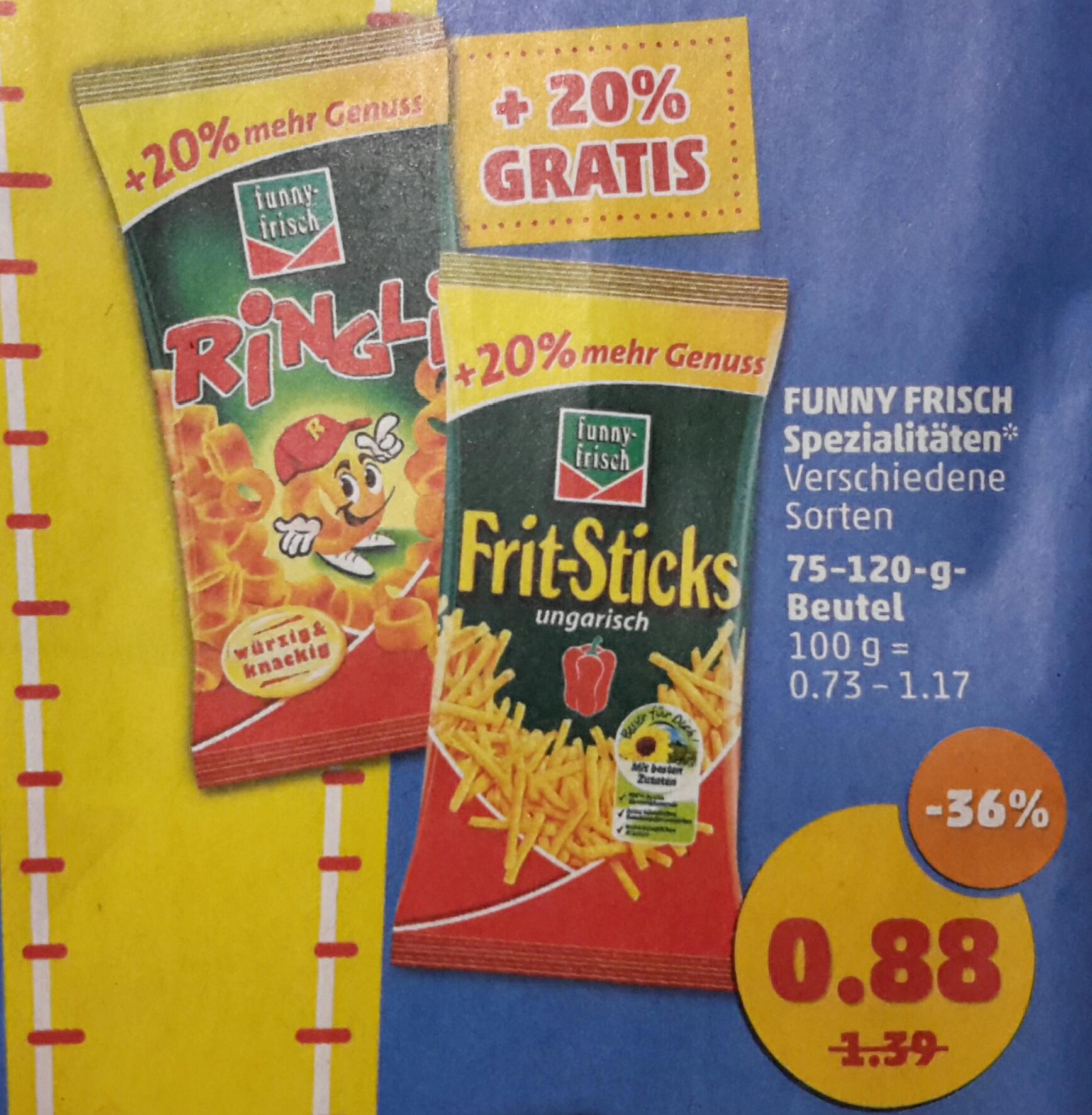 [Penny] Funny Frisch Frit-Sticks und Ringli mit 20% mehr Inhalt für je 0,88 € ab 06.03.17
