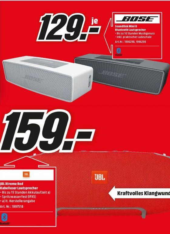 [Lokal Mediamarkt Köln Kalk ab Montag] BOSE SoundLink Mini II Multimedia-Lautsprecher schwarz oder weiß für je 129,-€ oder JBL Xtreme Bluetooth Lautsprecher Rot für 159,-€