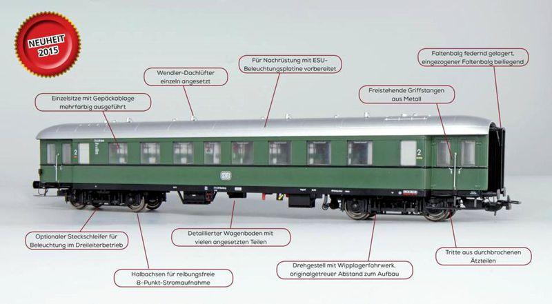 Modellbahn ESU Pullmannn Eilzugwagen div. DR Epoche IIIB / IV H0 bei elriwa