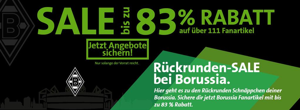 so Lange der Vorrat reicht bis zu 83% auf FanArtkel im Borussia MG Shop