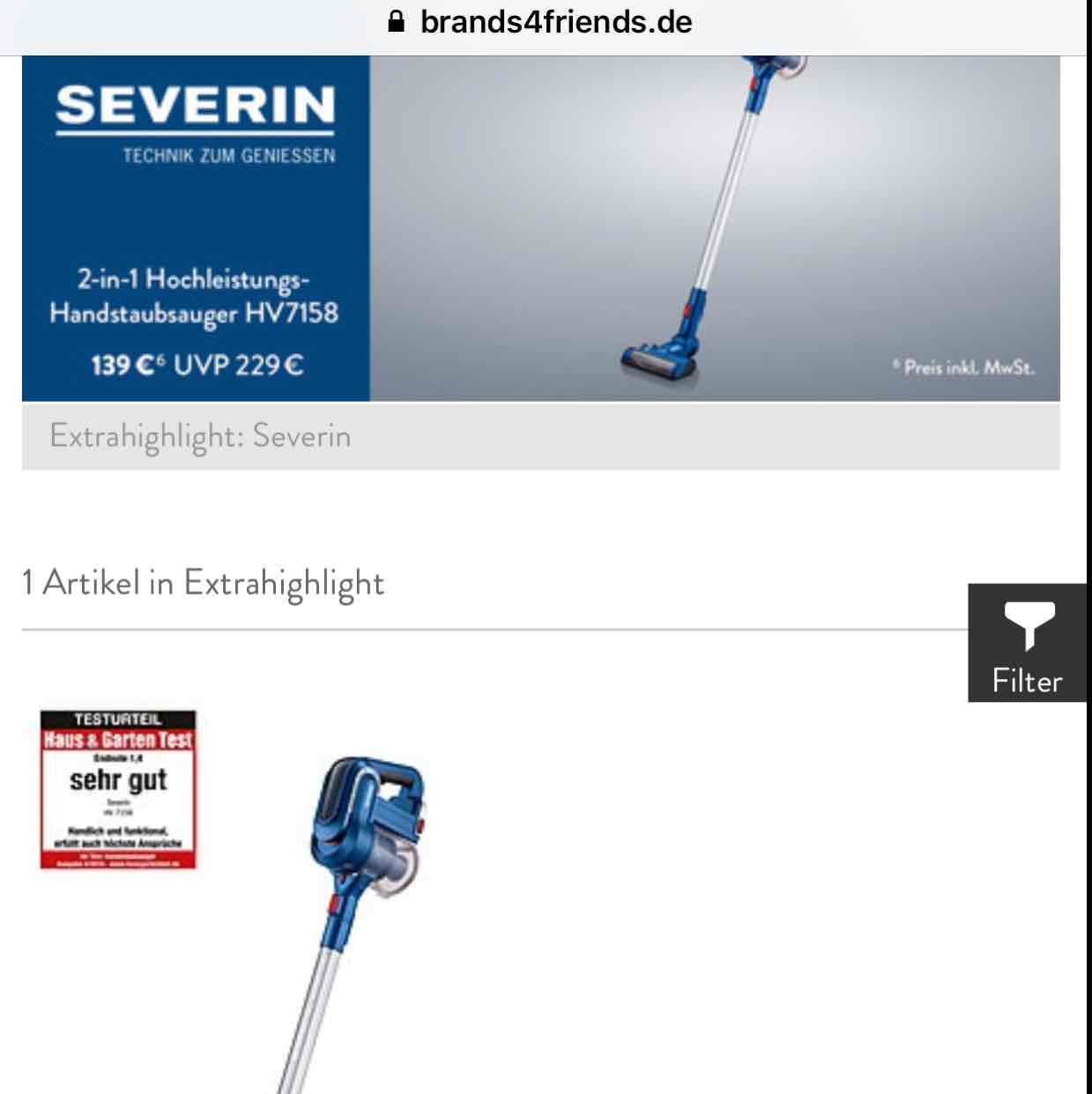 Dyson V6 Alternative Severin HV7158 bei b4f für 139€ (124€ möglich)