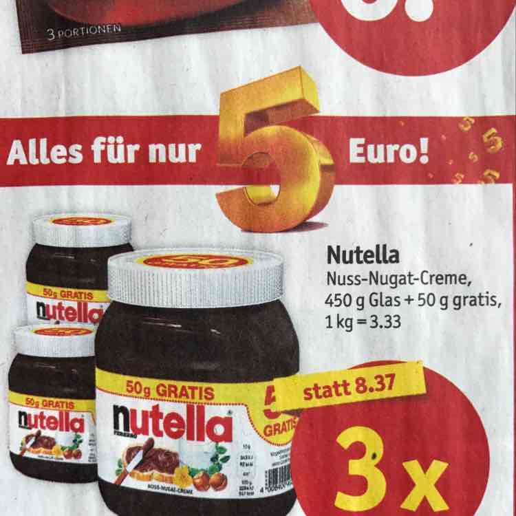 1,5 KG Nutella (3x 500g; 1kg = 3,33€) bei Plaza / Sky XXL & Sky Center