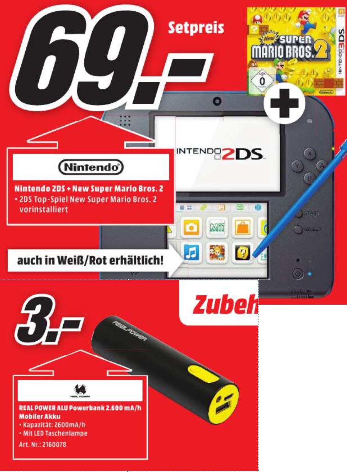 [ Lokal Köln ] Nintendo 2DS inkl. New Super Mario Bros 2 für 69 €, kleine Powerbank für 3 € im Mediamarkt Köln Kalk