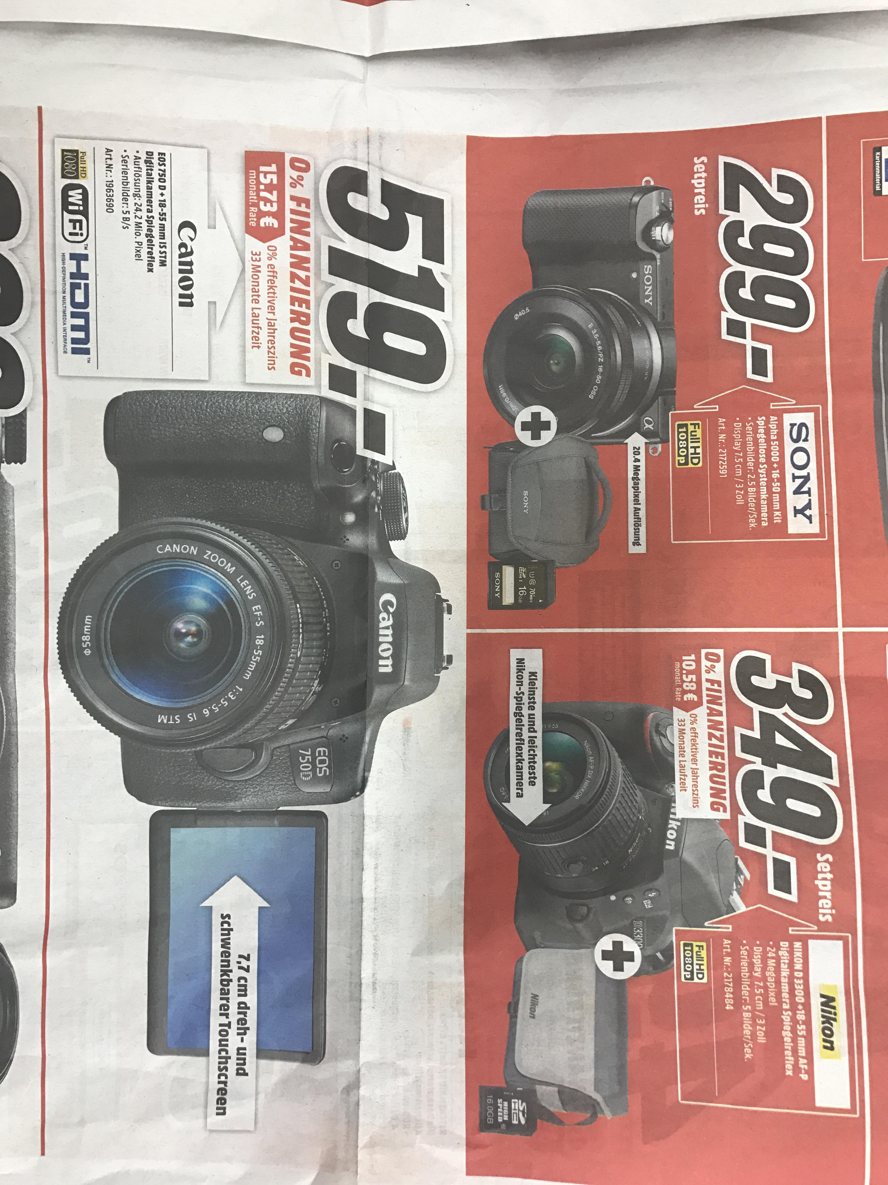 (Lokal MediaMarkt Köln Kalk) Canon EOS 750 für 519,- + weitere Kameras