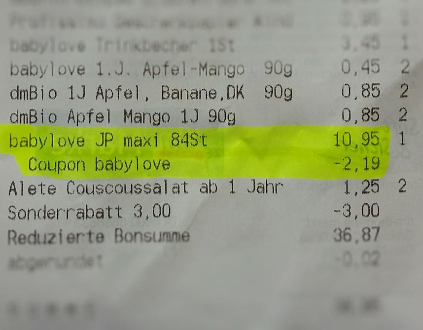 DM Babylove Baby Windeln -20% Rabatt