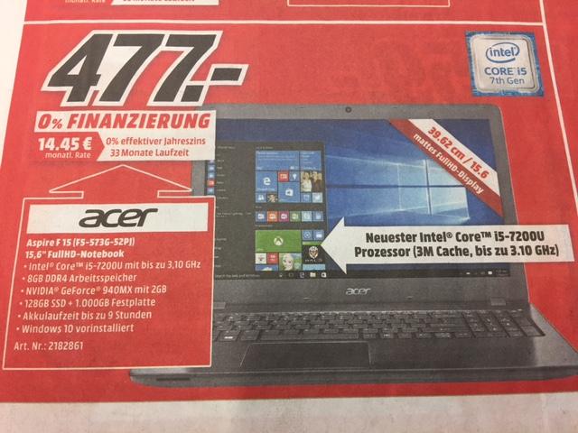 Media Markt Köln Kalk - Acer F15 F5-573G-52PJ