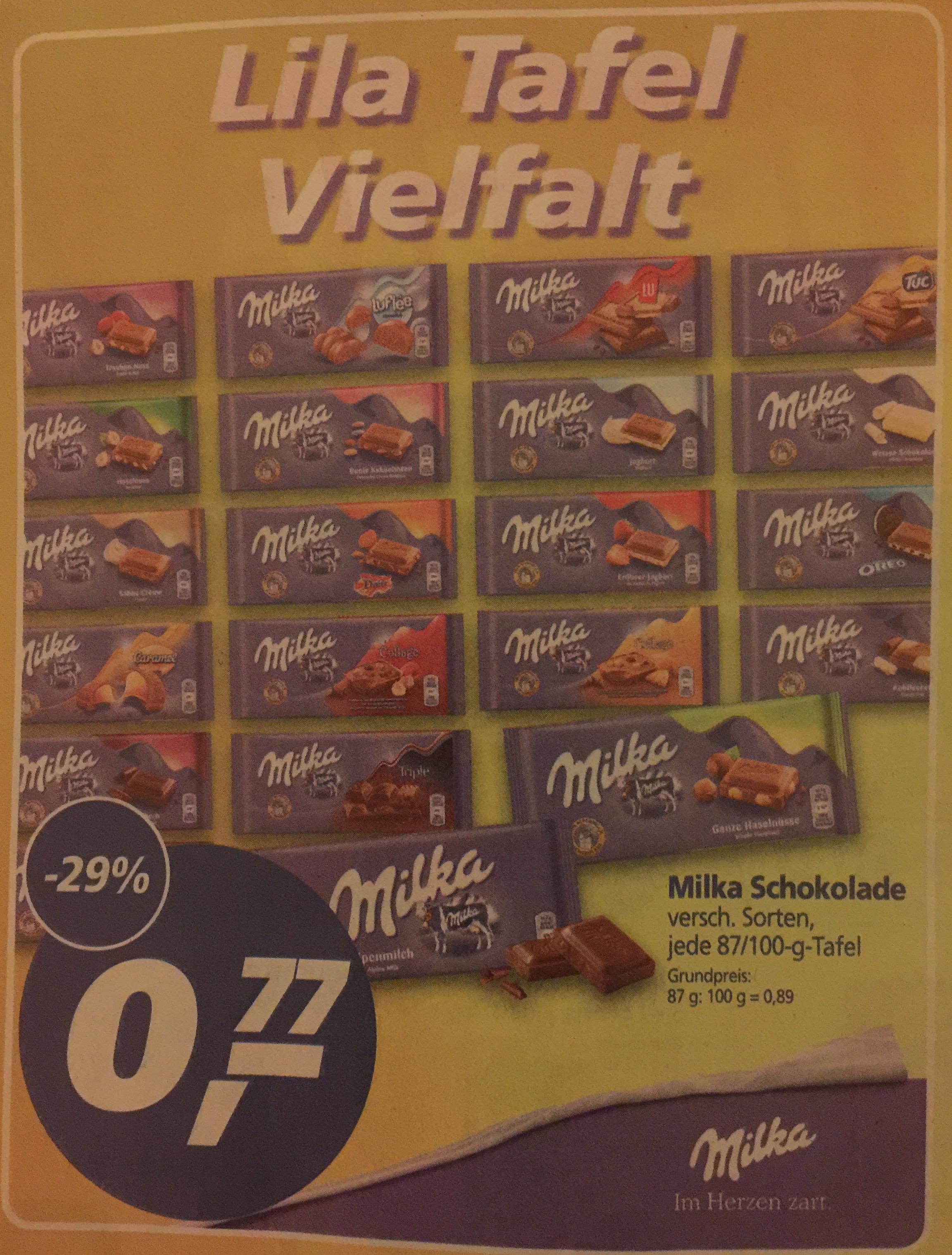 Milka Schokolade für 0,77€ bei Real oder für 0,79€ bei Edeka [Real/EDEKA]