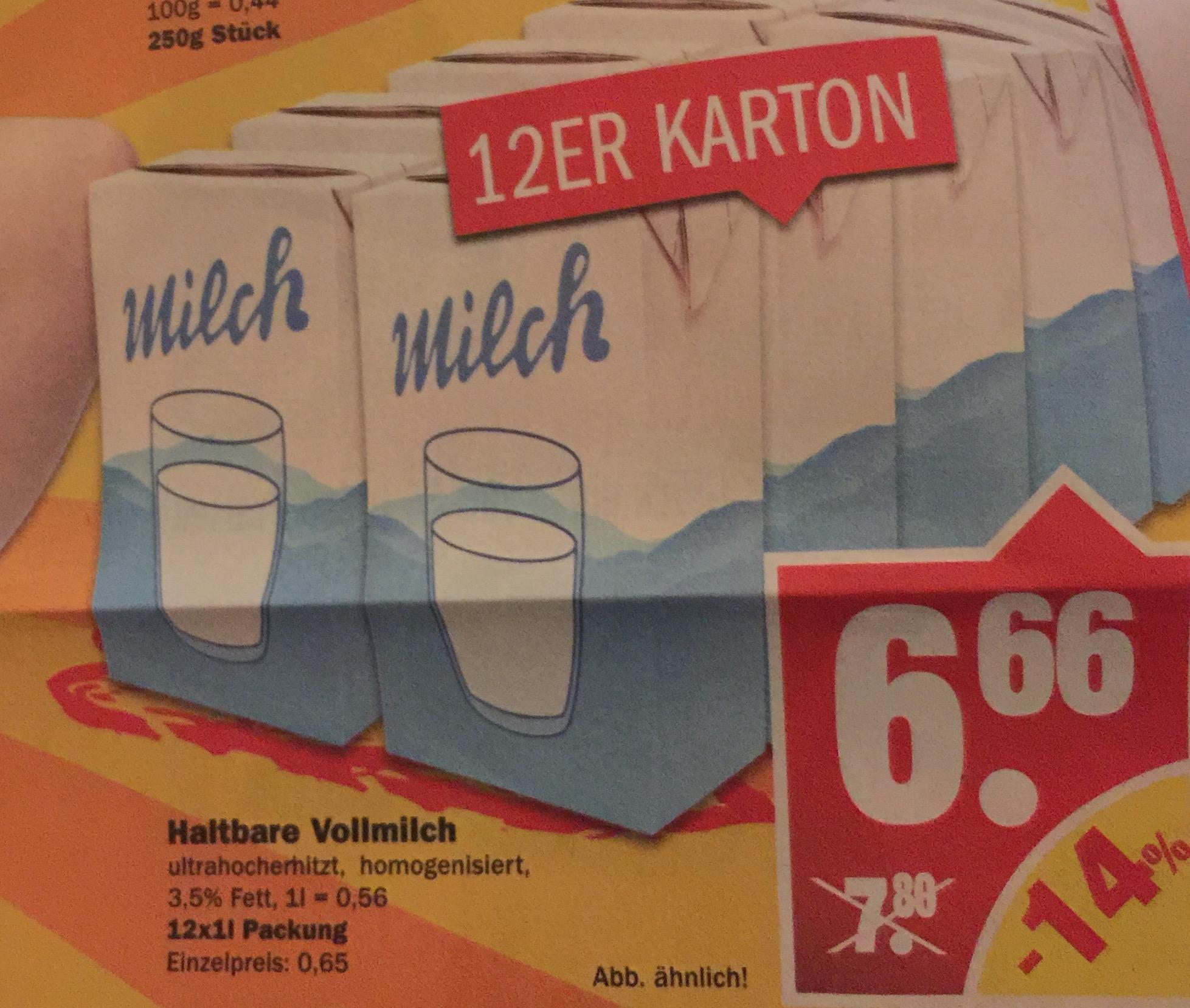 Haltbare Vollmilch 12x1L für 6,66 (0,56€/Liter) [NP]