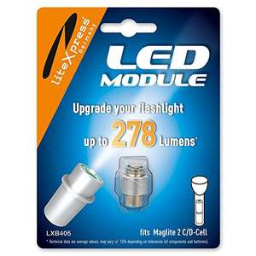 [AMAZON Prime] LiteXpress LED Upgrade Modul / 278 Lumen für 2 C/D-Cell Maglite Taschenlampen LXB405