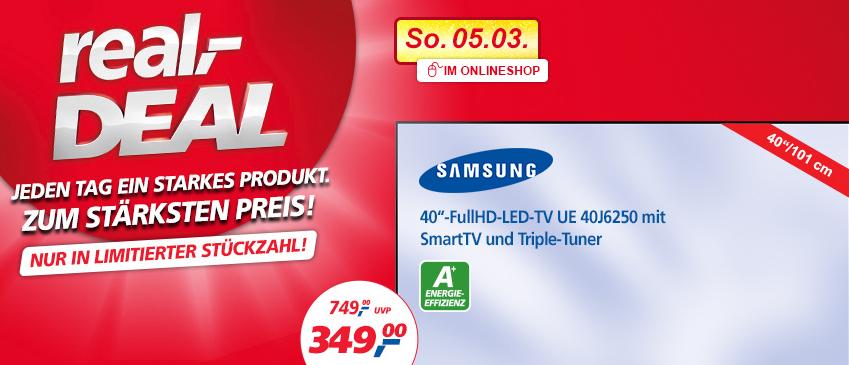Samsung UE40J6250 40 Zoll Full HD LCD-Fernseher für 349 Euro + 4,95 € VK bei real.de
