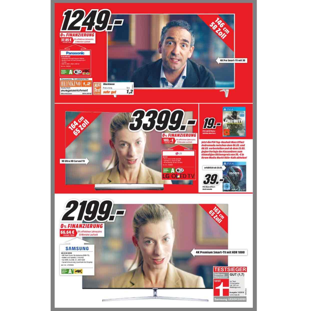 [lokal MM Köln Kalk] Panasonic TX 58 DXW 784 für 1.249,-, LG 65 C 6 D für 3.399,-, Samsung UE 65 KS 8090 für 2.199,-