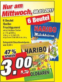 [Marktkauf Nordbayern am 08.03.2017] 6 Beutel HARIBO Fruchtgummi (verschiedene Sorten)