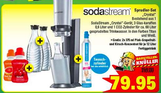 [Marktkauf Osnabrück]  Sodastream Crystal inkl. 3 Glaskaraffen u. 2 Fl. Konzentrat für 79,95 (+ Einkaufsgutschein möglich)