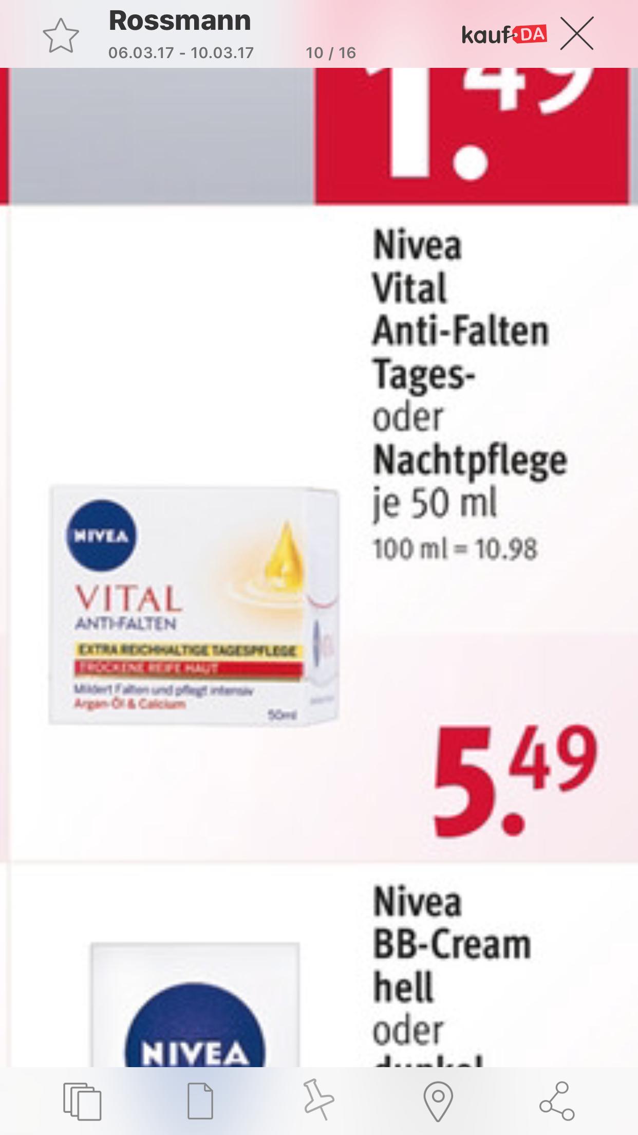 Nivea Tages oder Nachtpflege für 0€ mit 5€ Cashback / Freebie