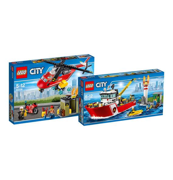 Bundle City Feuerwehrschiff 60109 & Feuerwehr-Löscheinheit 60108