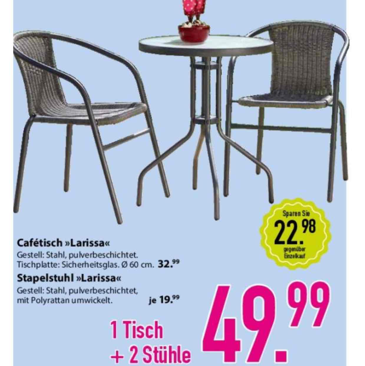 Gartenstuhl mit Tisch 3 Teile Dänisches Bettenlager Stapelstuhl