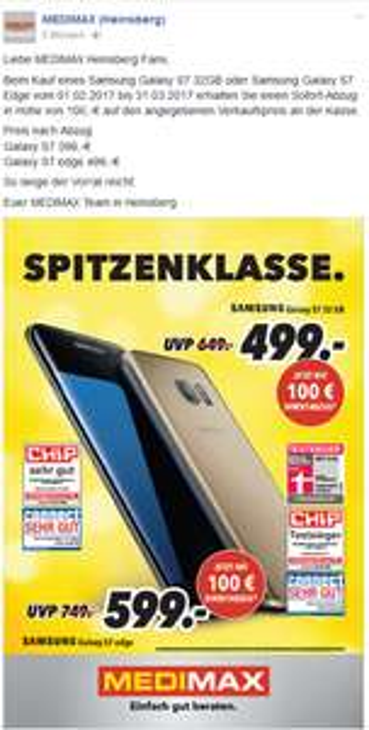 Galaxy S7 für 399,-€ bei MEDIMAX in Heinsberg