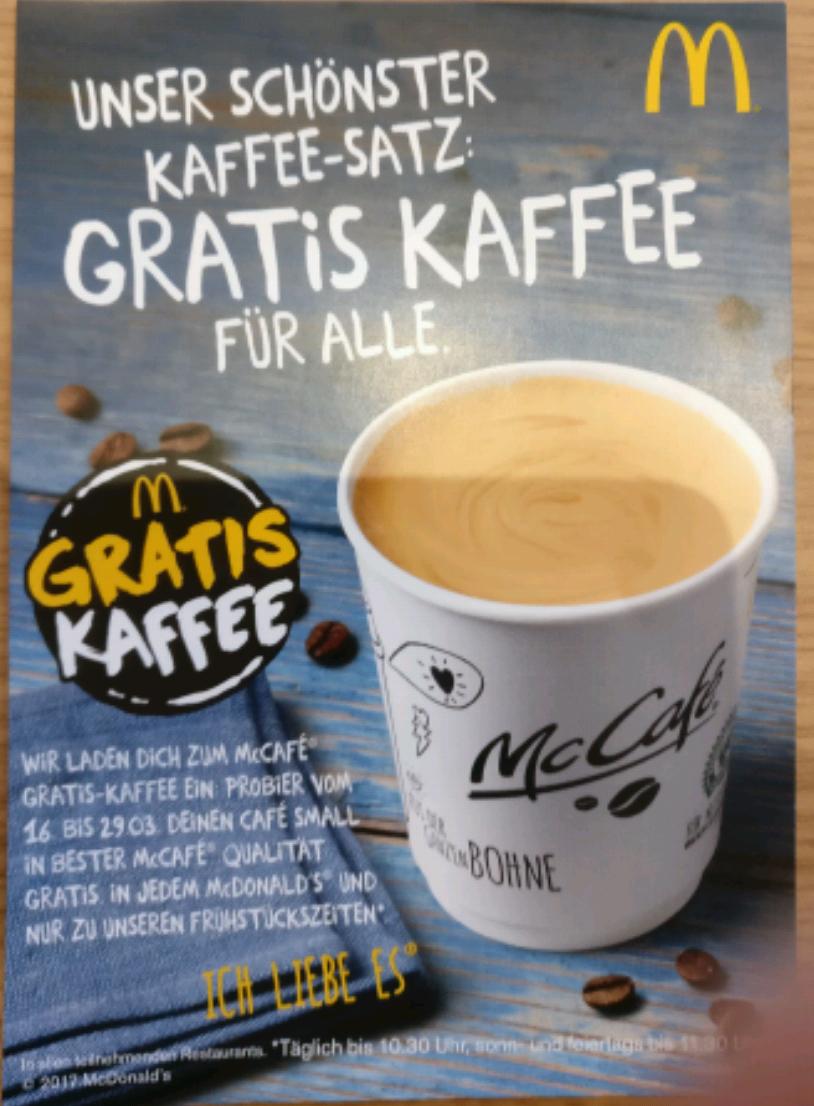 Gratis-Kaffee bei McDonald's ab 16. März