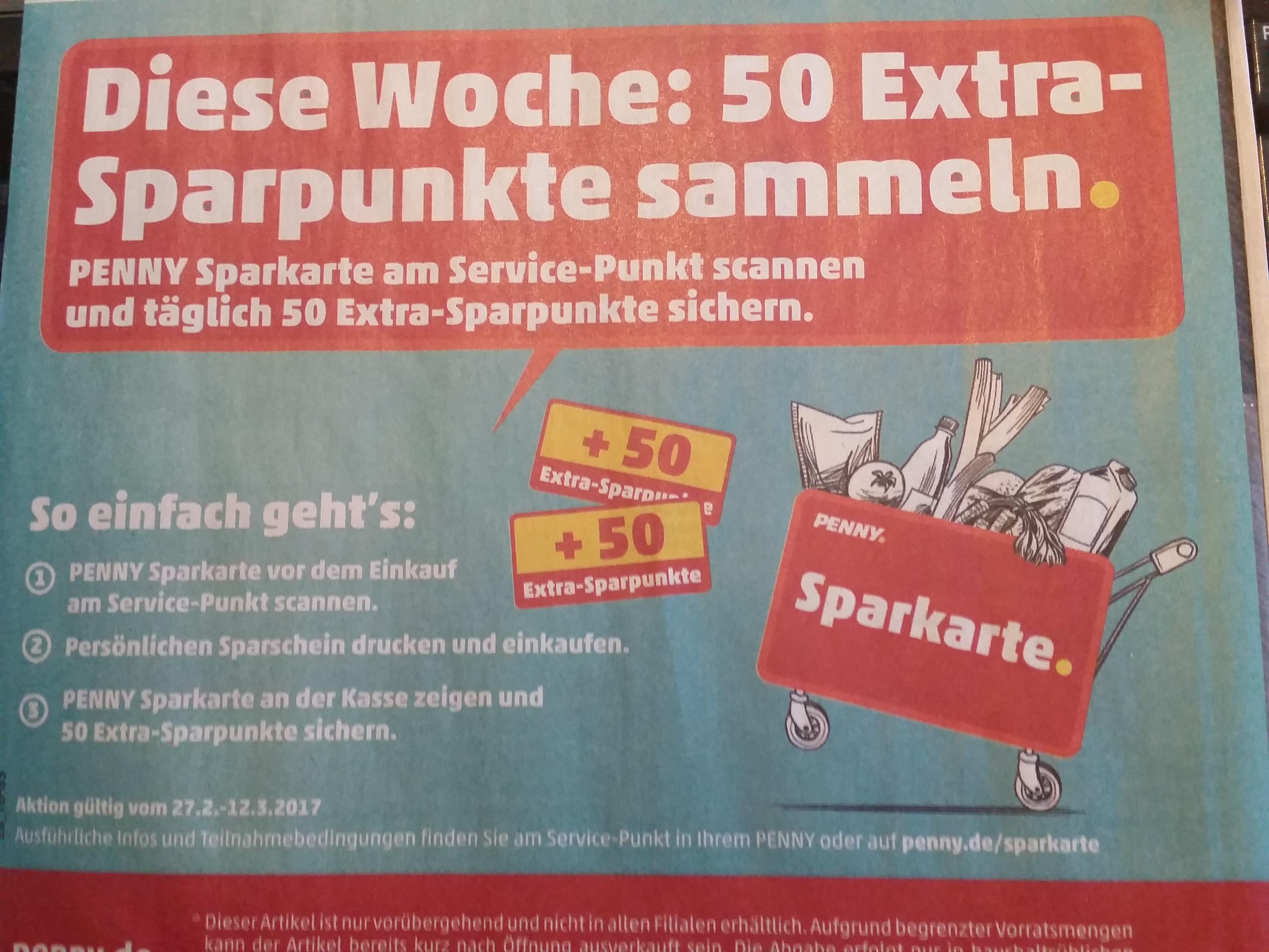 Penny Sparkarte täglich 50 Extra Sparpunkte sammeln [Lokal Nur im Raum Ettlingen / Kempten /Günzburg / Augsburg / Kaufbeuren]
