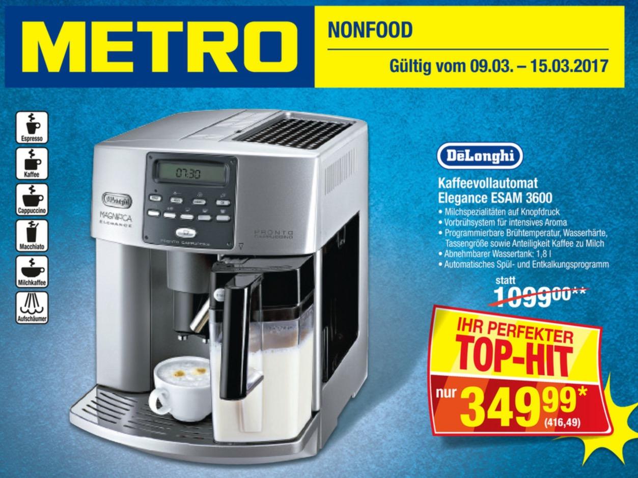 [Metro] Kaffeevollautomat De Longhi Elegance ESAM 3600 für 416,49 EUR ab 9.3.