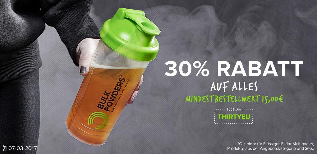 30% Rabatt auf ALLES bei BulkPowders.de - Shop für Sportnahrung, Whey Protein, Nahrungsergänzung - über 1200 Produkte.