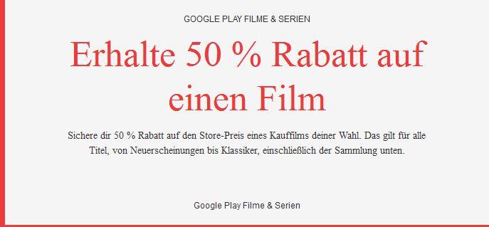 [Google Play / Chromecast] 50 % Rabatt auf den Store-Preis eines Kauffilms