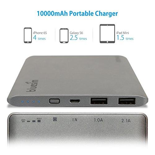 BlueSim Powerbank 10000mAh [DUAL USB, Ladestandsanzeige, Aluminiumgehäuse] für 13,99€ @Amazon.de (PRIME)