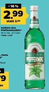 """[Netto mH deutschlandweit 09.-11.03.] Goldene Aue Pfefferminzlikör """"Pfeffi"""" für 2,99 €"""