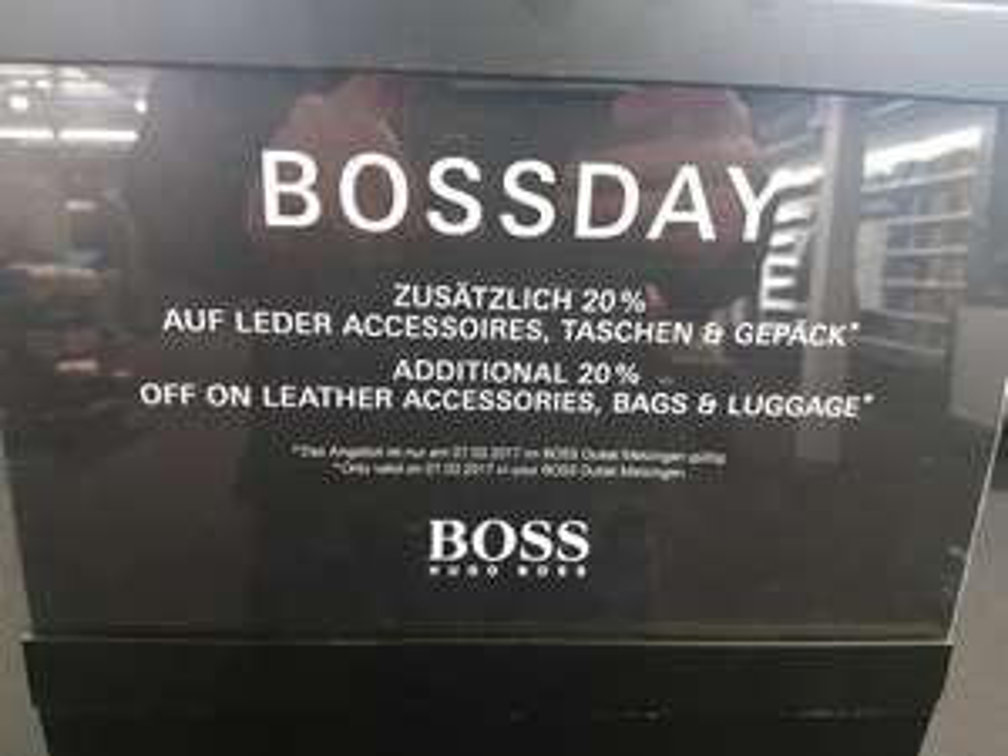 [Lokal Metzingen] Hugo Boss outlet 20% auf Leder Accessoires, Taschen und Gepäck heute 07.03.