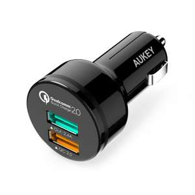 [AMAZON Prime] AUKEY Quick Charge 2.0 Auto Ladegerät 30W Dual Port mit USB C Kabel und Micro USB Kabel für iPhone, Tablet, Smartphone (Schwarz)