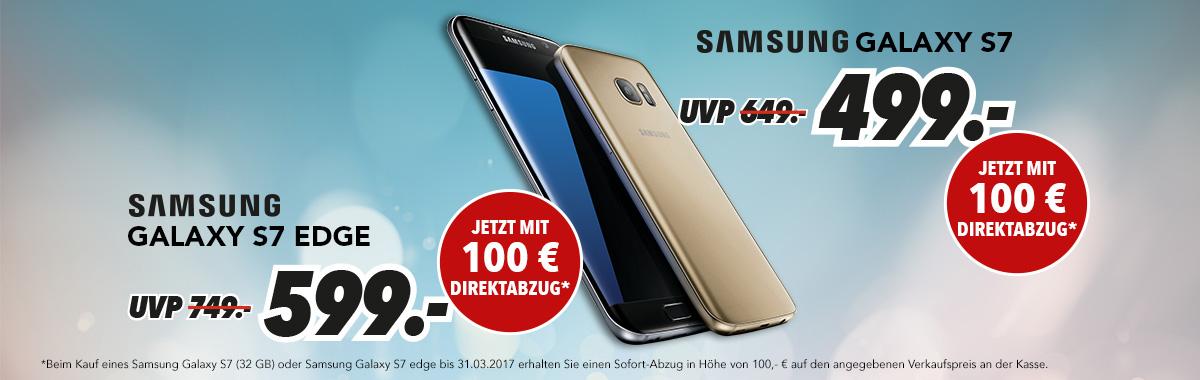 Samsung Galaxy S7 für 399€ und Samsung Galaxy S7 Edge für 499€