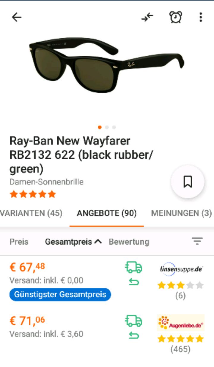Ray Ban New Wayfarer für 60,89€ bei KK Zahlung
