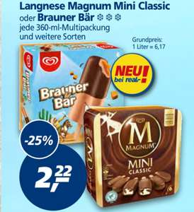 [real] Langnese Magnum Mini - 360ml Packung - 1,72€ u. 4x1,5l Coca Cola - 2,99€ mit Coupon