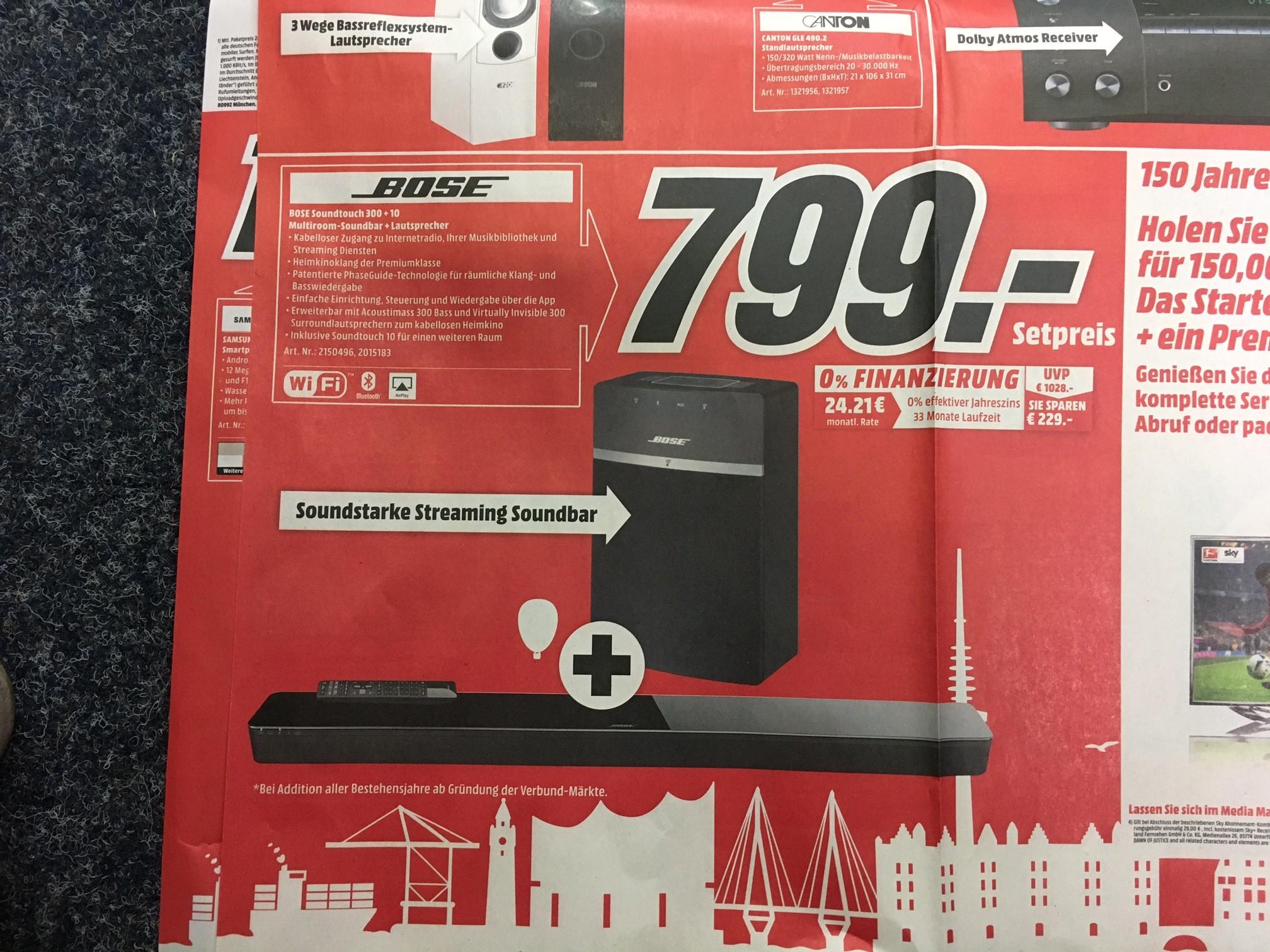 [Lokal MediaMarkt HH] Bose Soundtouch 300 + Bose Soundtouch 10 im Set 799€ (effektiv Soundtouch 10 gratis dazu)