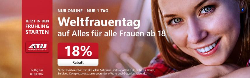 [nur für Frauen&Online] 18% Rabatt bei ATU am heutigen Weltfrauentag