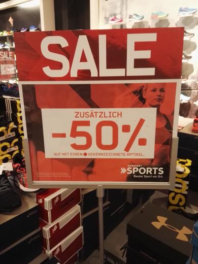 50% + 20 % zusätzlich auf reduzierte ware Karstadt sport Düsseldorf
